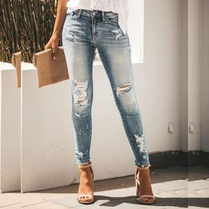 Vici Carly Distressed Skinny Destroyed Jeans